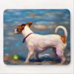 Jack Russell Terrier Dog Art - Jack at the Beach Mouse Pad