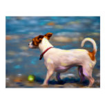 Jack Russell Terrier Dog Art - Jack at the Beach Postcard