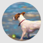 Jack Russell Terrier Dog Art - Jack at the Beach Classic Round Sticker