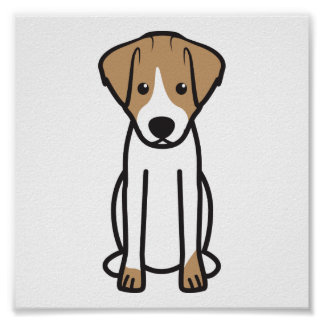 Jack Russell Terrier Dog Cartoon Poster