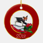 Jack Russell Terrier dog Double-Sided Ceramic Round Christmas Ornament