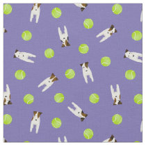 Jack Russell Terrier dogs w tennis balls any color Fabric