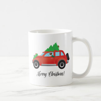 Jack Russell Terrier Driving Christmas Car Coffee Mug