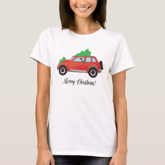 Jack Russell Terrier Driving Christmas Car T-Shirt