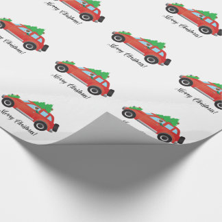 Jack Russell Terrier Driving Christmas Car Wrapping Paper