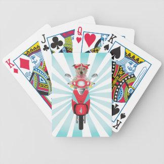 Jack Russell Terrier en el ciclomotor rojo Baraja Cartas De Poker