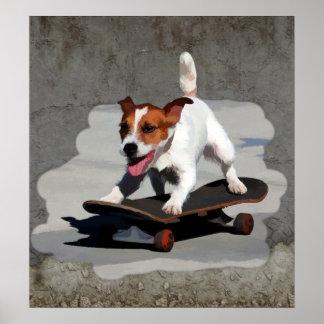 Jack Russell Terrier en el monopatín Impresiones