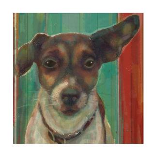 Jack Russell Terrier en la lona de madera
