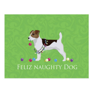 Jack Russell Terrier Feliz Naughty Dog Christmas Postcard