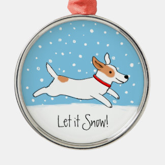Jack Russell Terrier - Happy Snow Dog Holiday Metal Ornament