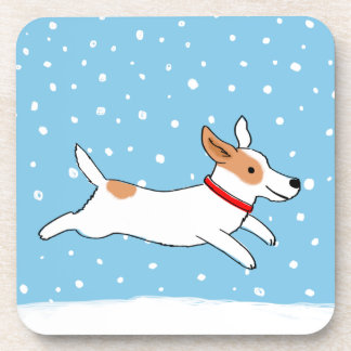 Jack Russell Terrier - Happy Winter Dog Holiday Beverage Coaster