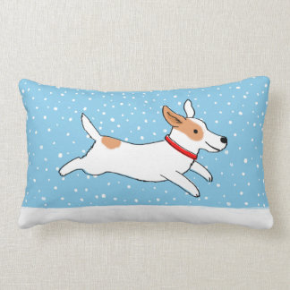 Jack Russell Terrier - Happy Winter Snow Dog Throw Pillow