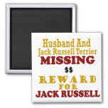 Jack Russell Terrier & Husband Missing Reward For 2 Inch Square Magnet