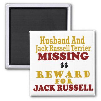 Jack Russell Terrier & Husband Missing Reward For 2 Inch Square Magnet