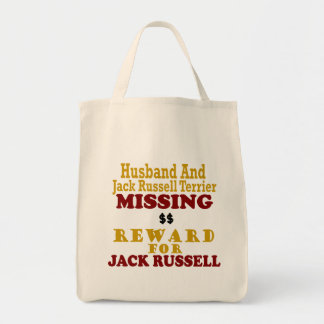 Jack Russell Terrier & Husband Missing Reward For Tote Bag