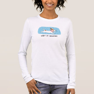 Jack Russell Terrier Let it Snow Dog Holiday Long Sleeve T-Shirt