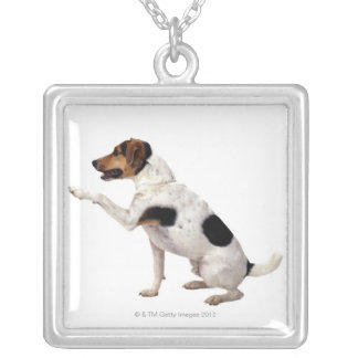 Jack Russell Terrier Lifting Paw Square Pendant Necklace