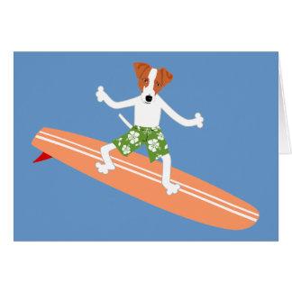 Jack Russell Terrier Longboard Surfer Card