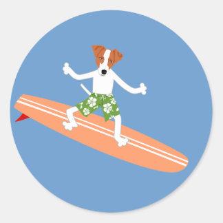 Jack Russell Terrier Longboard Surfer Classic Round Sticker