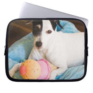 Jack russell terrier lying down laptop sleeve