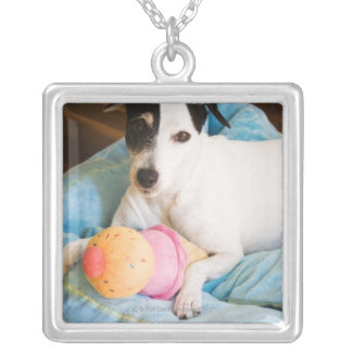 Jack russell terrier lying down square pendant necklace