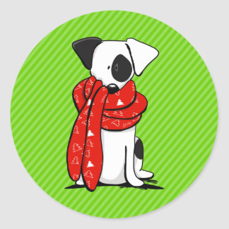 Jack Russell Terrier Modern Red Scarf Stickers