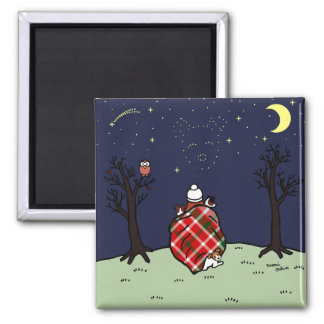 Jack Russell Terrier Mom and Starry Sky 2 Inch Square Magnet