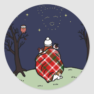 Jack Russell Terrier Mom and Starry Sky Round Stickers