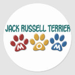 JACK RUSSELL TERRIER Mom Paw Print 1 Classic Round Sticker