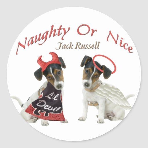 Jack Russell Terrier Naughty Or Nice Classic Round Sticker