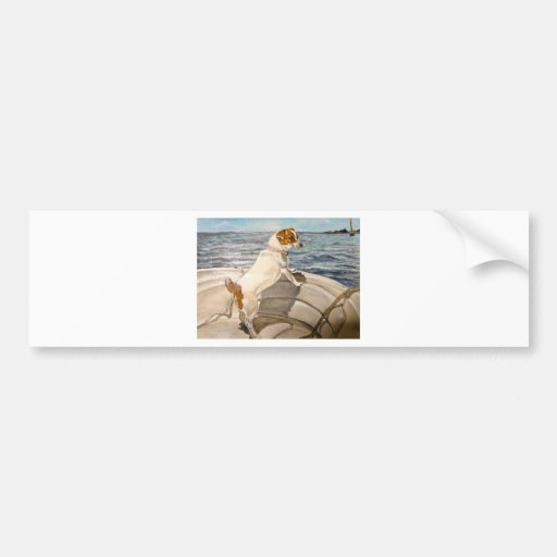 Jack Russell Terrier on boat Bumper Stickers