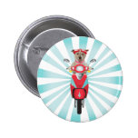 Jack Russell Terrier on Red Moped Button