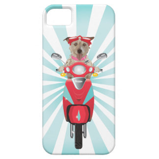 Jack Russell Terrier on Red Moped iPhone 5 Case