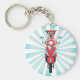 Jack Russell Terrier on Red Moped Keychain