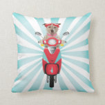 Jack Russell Terrier on Red Moped Pillows