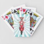Jack Russell Terrier on Red Moped Bicycle Poker Cards