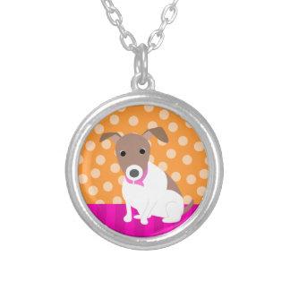 Jack Russell Terrier orange Round Pendant Necklace