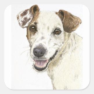 Jack Russell Terrier Calcomanías Cuadradass
