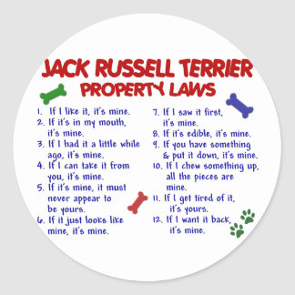 JACK RUSSELL TERRIER Property Laws 2 Round Sticker