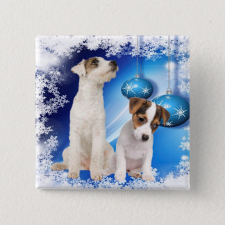 Jack Russell Terrier Puppy Let It Snow Design Button