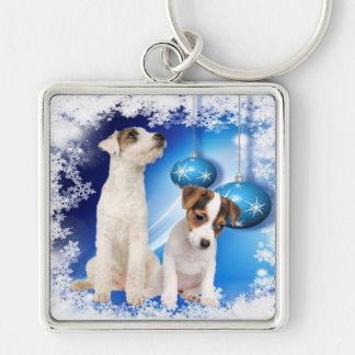 Jack Russell Terrier Puppy Let It Snow Design Keychain