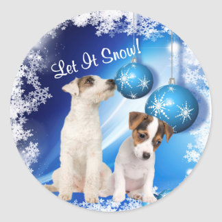Jack Russell Terrier Puppy Let It Snow Stickers