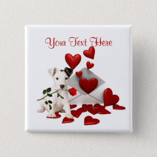 Jack Russell Terrier Red Rose Valentine Design Button