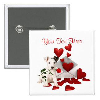 Jack Russell Terrier Red Rose Valentine Design Pinback Buttons