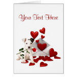 Jack Russell Terrier Red Rose Valentine Design Greeting Card
