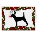 Jack Russell Terrier Reindeer Christmas Card