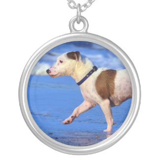 Jack Russell Terrier Running On The Beach Round Pendant Necklace