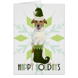 Jack Russell Terrier Santa Dog | Green Christmas Card