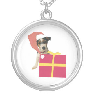 Jack Russell Terrier Santa Hat Necklace