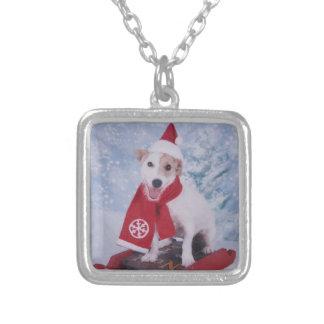 Jack Russell Terrier   - santa helper Square Pendant Necklace